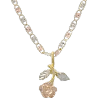 Beautiful 14k Anchor Link Chain with a Lovely Rose Pendant