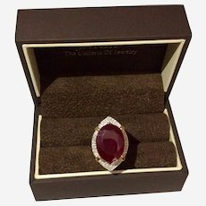 Beautiful 12ct Oval Ruby with Diamonds Statement Ring