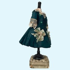 Luxury couture emerald green silk dress for Jumeau, Steiner, Bru Bebe