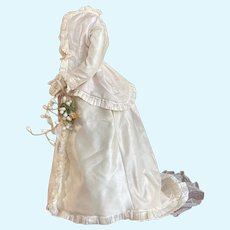 Excellent  wedding train dress from 1870 period for your fashion doll