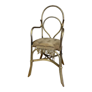 Antique doll gilded rattan chair