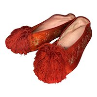 Vintage silk shoes, doll shoes, Bebe shoes