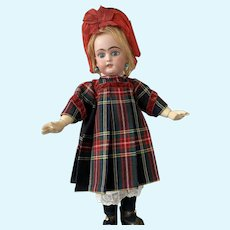 Reserved. Thank you SJ! Scottish chequered wool dress with matching bonnet for your French Bebe