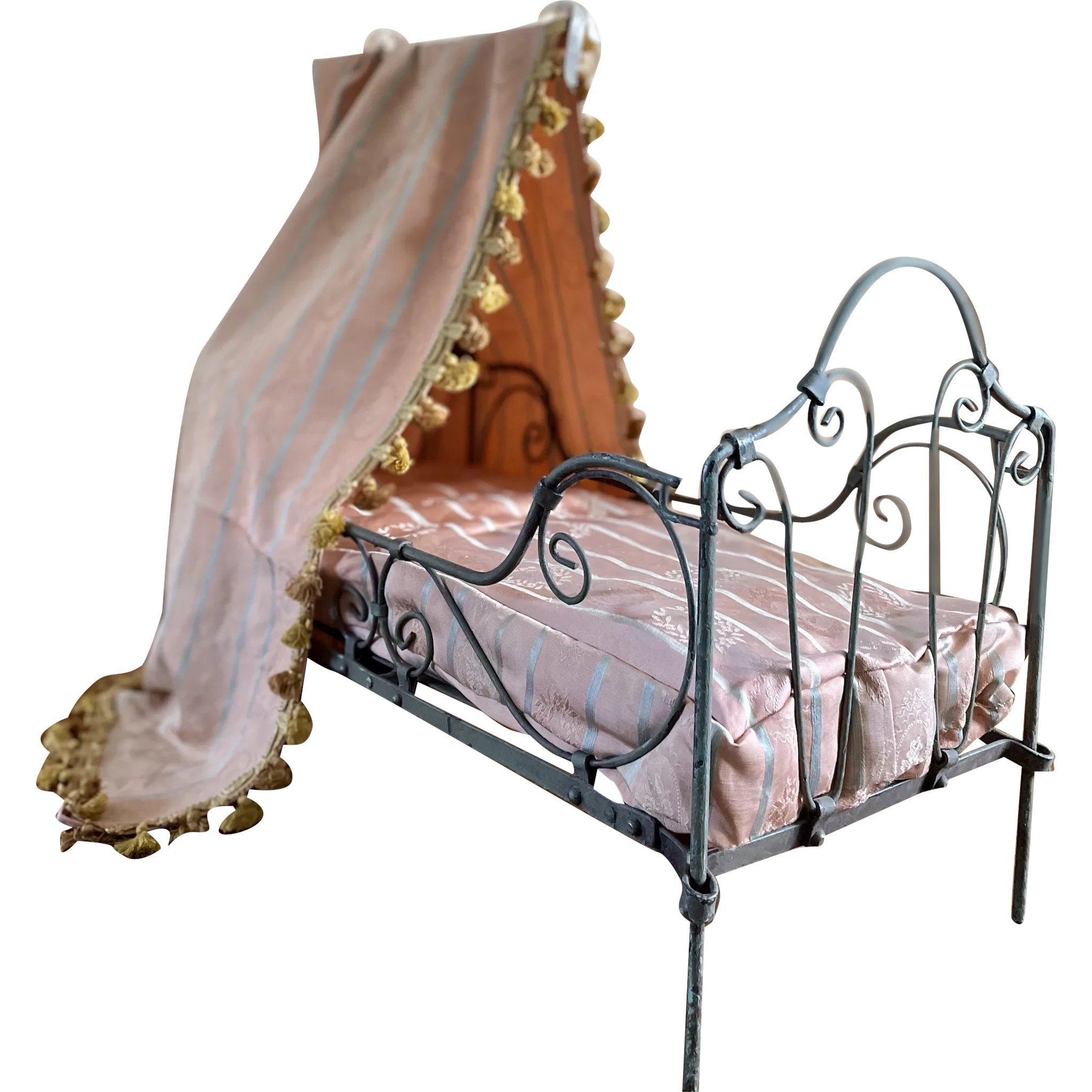 Cast Iron Canopy French Doll Bed The Fairies Of Time Ruby Lane