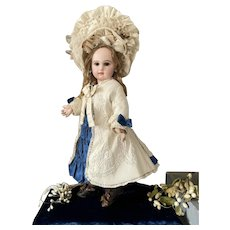 Antique French Bebe silk bonnet