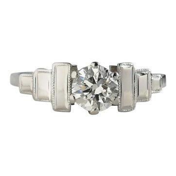Antique 1930s Art Deco .50ct G/VS Old Cut Diamond Engagement Ring
