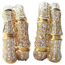 Cartier Bamboo Diamond & 18k Yellow Gold Earrings