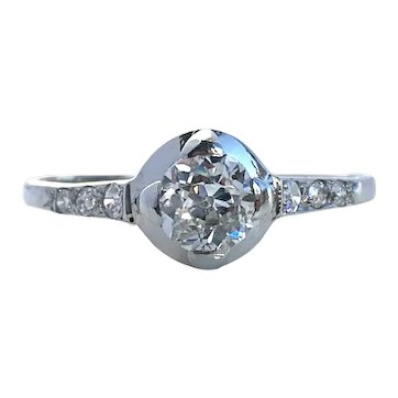 1920s French Antique Art Deco .45ct G/VS Old Cut Diamond Engagement Ring Platinum