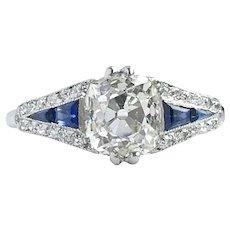 1920s Art Deco 1.60ct Old Cushion Cut Diamond & Sapphire Engagement Ring in Platinum