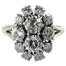 French Mid Century 1950s 2.10tcw G/VS Old & Transitional Cut Diamond Cluster Engagement Ring