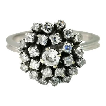 Mid Century 1950s .50ct Old Cut & 8/8 Diamond 19k White Gold Cluster Ring