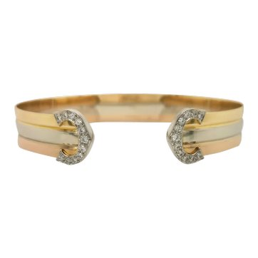 1980s Cartier C de Trinity Diamond Bracelet Bangle Sz 17 Certificate