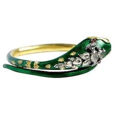 Victorian 2.10ct Old Cut Diamond Ruby Green Enamel Serpent Snake Bracelet Bangle