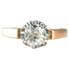 Antique Old Mine Cut .75ct Diamond 18k Rose Gold Engagement Ring SZ L