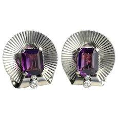Retro 1945 Tiffany & Co Palladium Amethyst Diamond Earrings