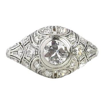 Art Deco 1920s 0.75tcw G/VS Old Cut Diamond Engagement Ring in Platinum