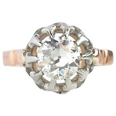 Antique French .78ct Old Cut Diamond Rose Gold Engagement Ring SZ L