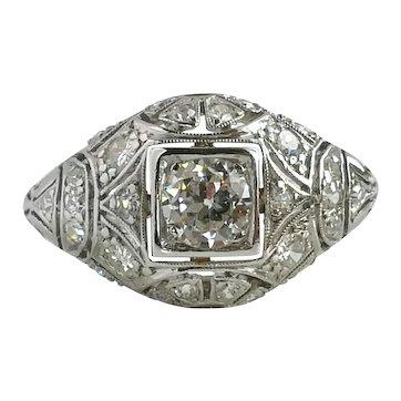 Original Art Deco 1ct Old Cut Diamond Bombe Platinum Engagement Ring