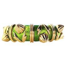 Tiffany & Co. Schlumberger Cones Bracelet in Green Paillonne Enamel & 18k Gold