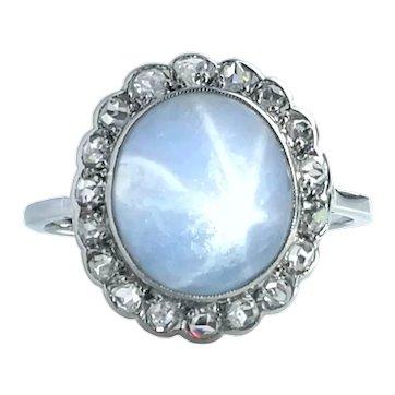 Antique Edwardian Star Sapphire Rose Cut Diamond Ring