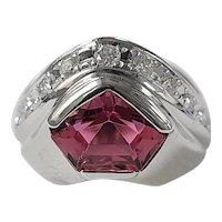 Set in 18 Karat Gold Tourmaline ring with diamonds