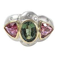 Set in 18 karat gold Multi Tourmaline ring with Diamonds