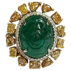 Natural  10.20 Carat Emerald Ring Set in 18 Karat Gold with Fancy Coloured Diamond