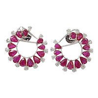 Set in 18 Karat Gold, Natural Mozambique Ruby and Pear Diamonds Hoop Earrings
