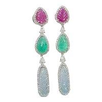 Set in 18 karat gold aquamarine, ruby, emerald earrings