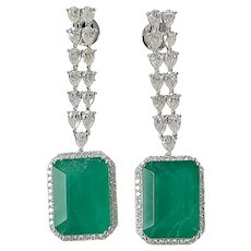 Set in 18k gold natural emerald 25 carat + earring with diamond