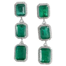 Set in 18k white gold natural Zambian emeralds earrings with diamonds