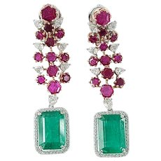 Set in 18k gold natural Zambian emerald earrings with Unheat ruby and diamonds