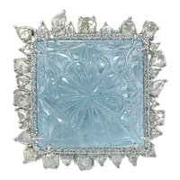Set in 18 Karat Gold Carat Carved Aquamarine and Rose Cut Diamonds Cocktail Ring