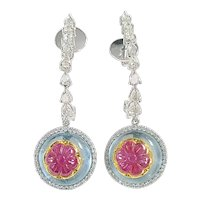 Set in 18 Karat Gold Ruby on Aquamarine and Diamonds Drop Earrings