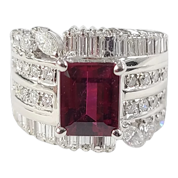 Set in 18 Karat Gold Tourmaline ring with diamonds