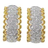 Set in 18 karat Gold diamond loop earrings