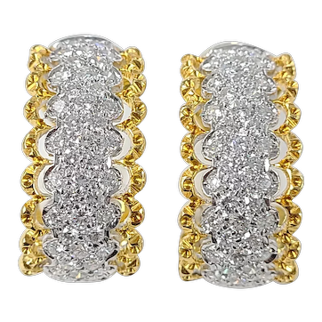 Set in 18 karat Gold diamond loop earrings