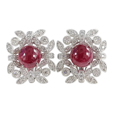 Set in 18 karat gold natural Burma Spinel studs with diamonds