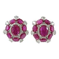 Set in 18 Karat Gold Natural Ruby and Diamonds Cluster Style Stud Earrings
