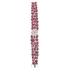 Set in 18 Karat Gold Watch with Natural Ruby and Diamonds