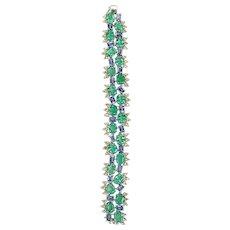 Set in 18 Karat gold emerald and blue sapphire bracelet with rosecut diamond