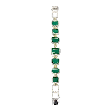 Set in 18 Karat gold Natural emerald with yellow diamond bracelet
