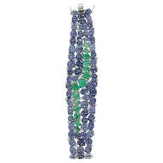 Set in 18 karat gold, Burmese Blue Sapphires and Emeralds Flexible Bracelet