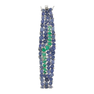 Set in 18 karat gold, Burmese Blue Sapphires and Emeralds Flexible Bracelet