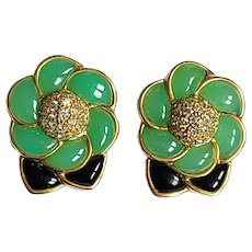 Green and Black Onyx Studs/Earrings with Diamonds in 18 Karat Gold