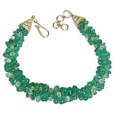 Natural Emerald Drops Bracelet in 18 Karat Gold with Diamond Briolette