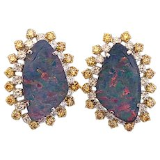 Australian Opal Studs Set in 18 Karat Gold with Yellow and White Diamonds