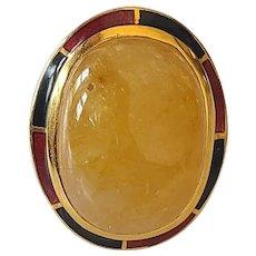 49.58 Carats Natural Yellow Sapphire Ring Set in 18 Karat Gold with Enamel