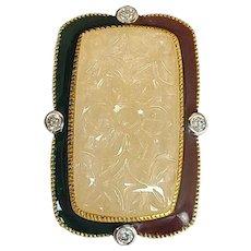 47.80 Carat Yellow Sapphire Ring Set in 18 Karat Gold with Diamond and Enamel