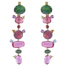 Natural Doublet Opal,Pink Sapphire & Multi Sapphires Chandelier/ Dangle Earrings